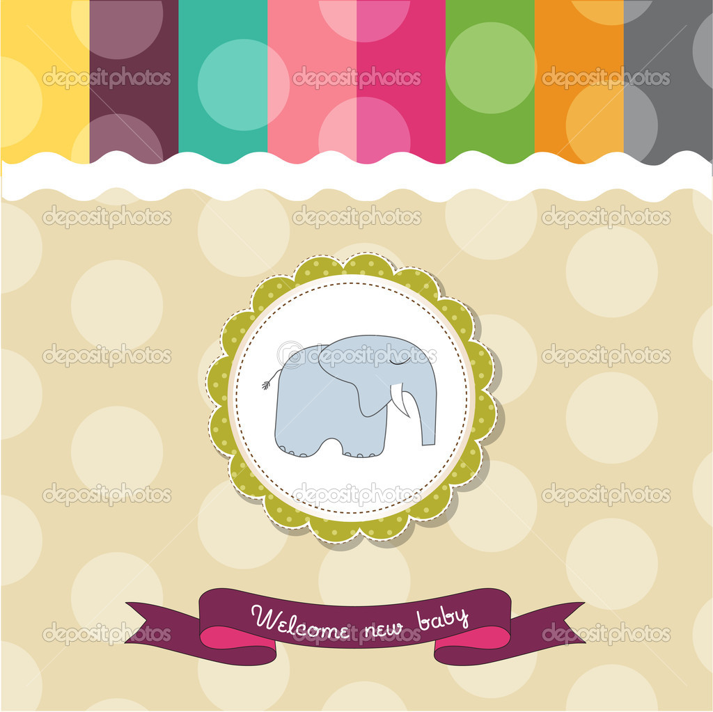 Baby shower card template with elephant — Stock Photo ...
