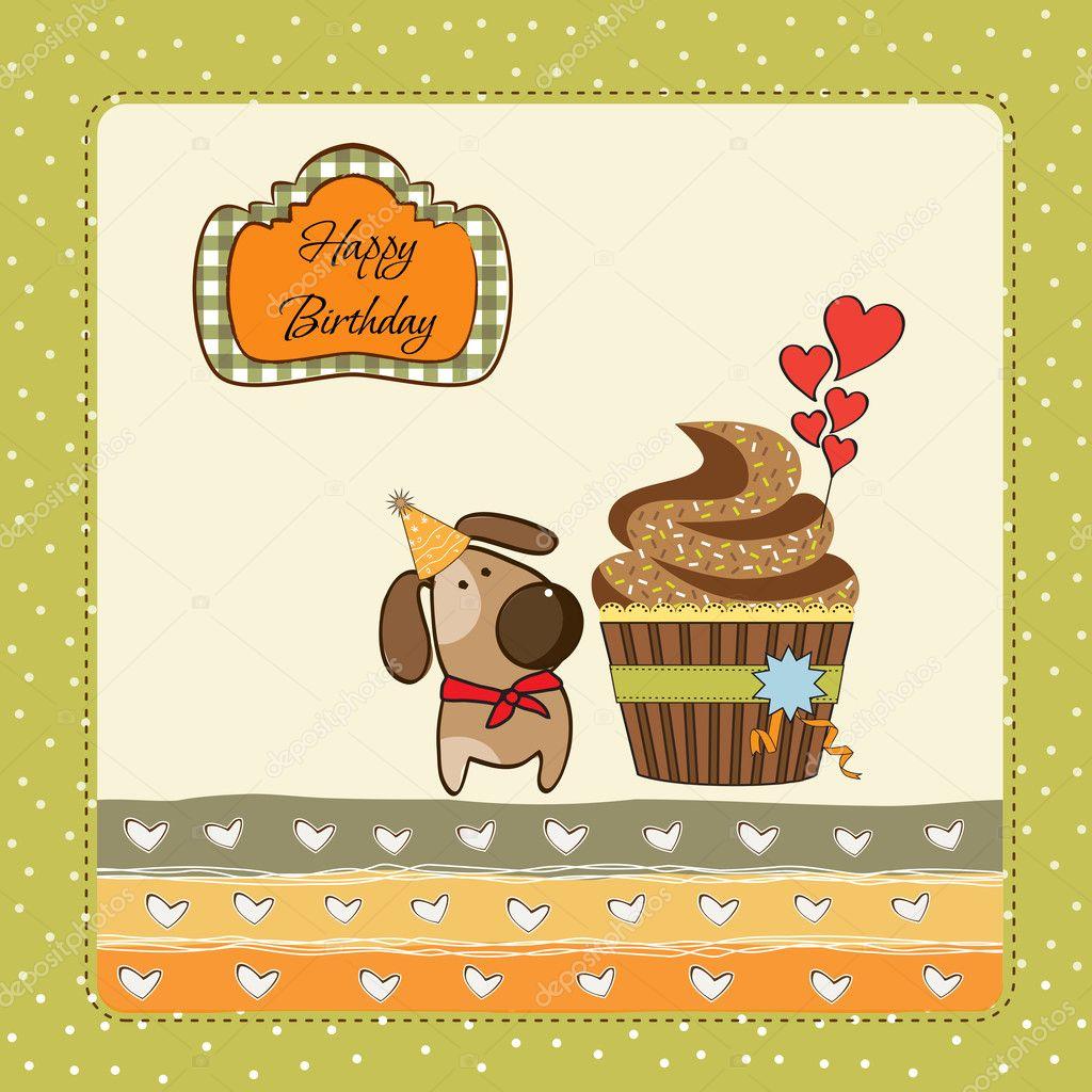 Verjaardag Wenskaarten Met Cupcake En Kleine Hond Stockfoto