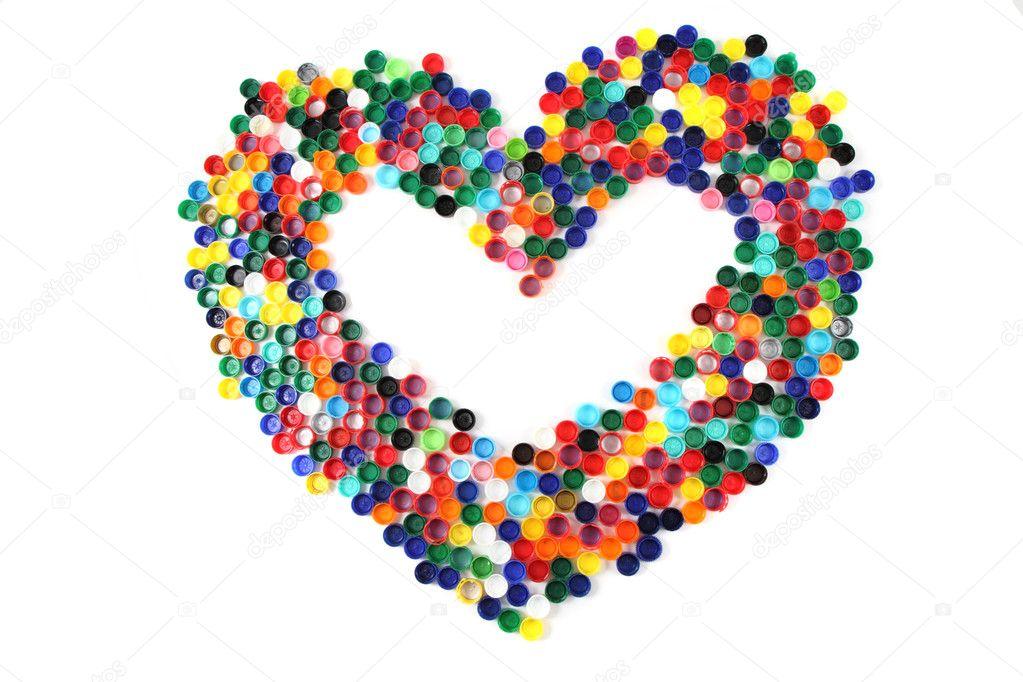 Exceptionnel coeur des bouchons en plastique de couleur — Photo #11076099 VJ91