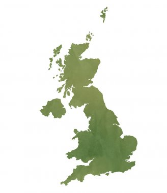 United Kingdom map on green paper