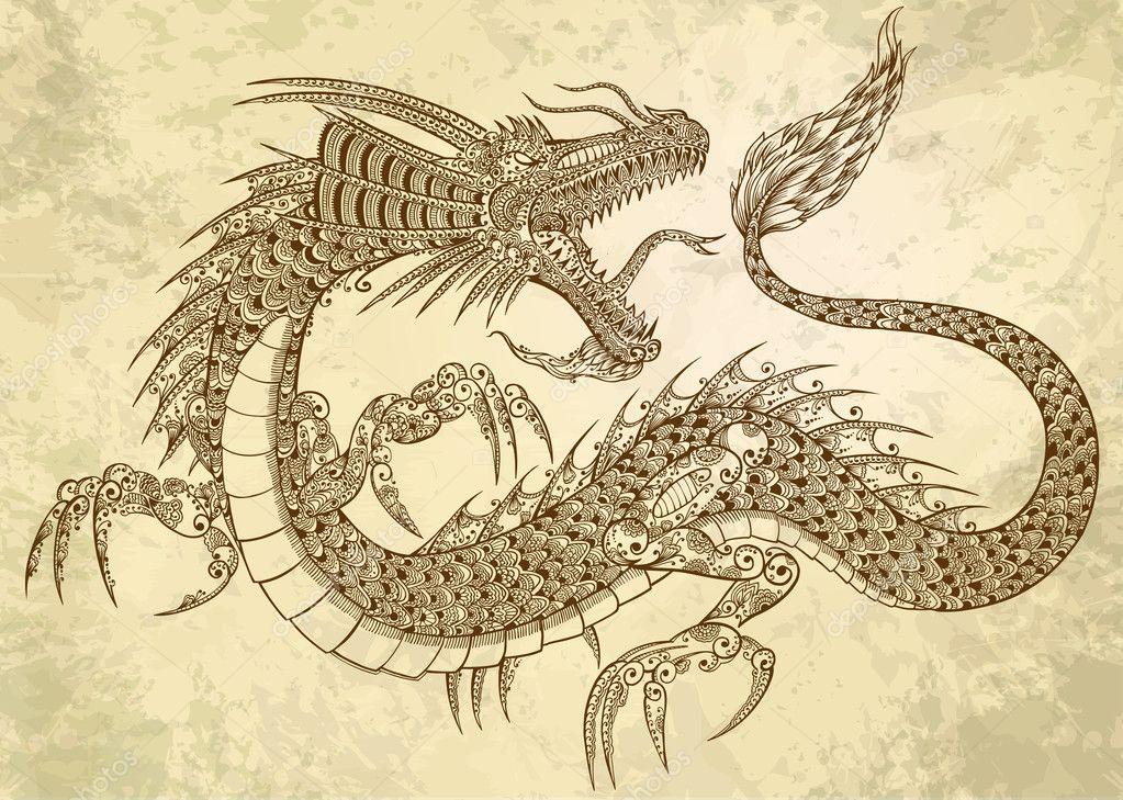 Vector Henna Tatuaje Tribal Dragon Doodle Bosquejo Vector De Stock