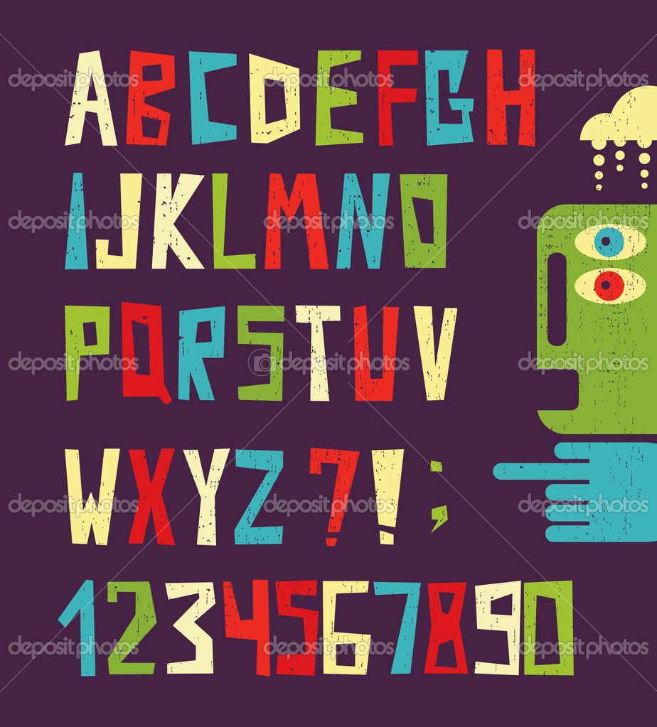 Funny alphabet letters with numbers in retro style.