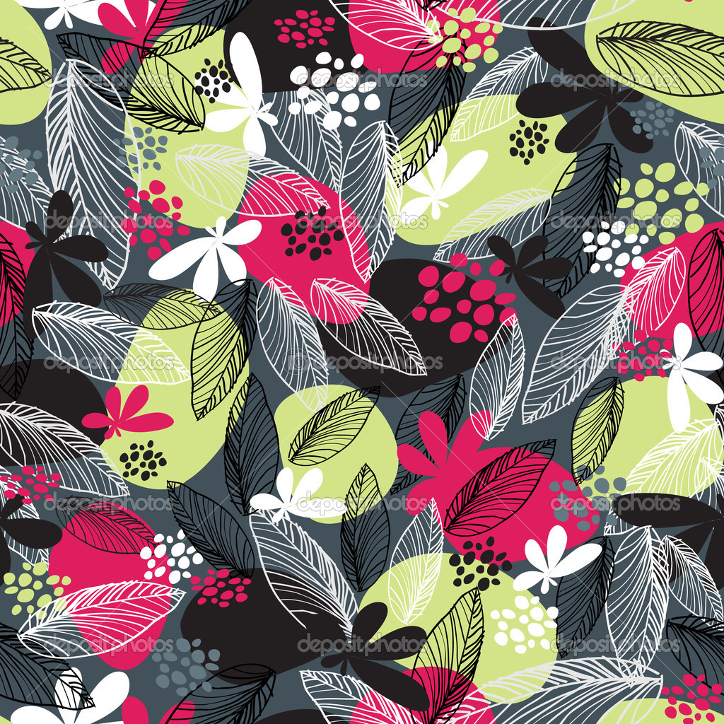 Floral seamless pattern on black background.
