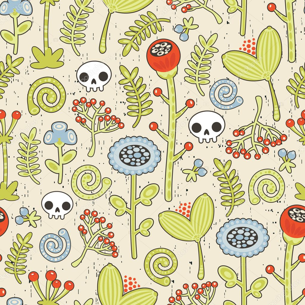 Skulls and flowers seamless background.