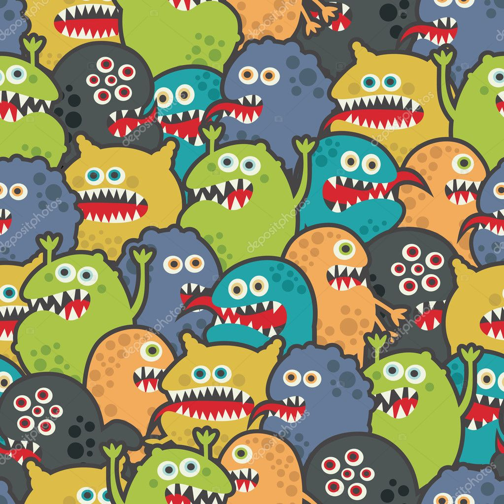Cute monsters seamless texture.