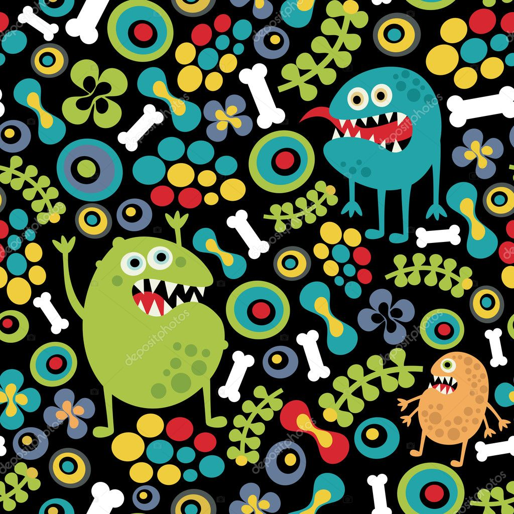 Cute monsters seamless texture with bones and flowers.