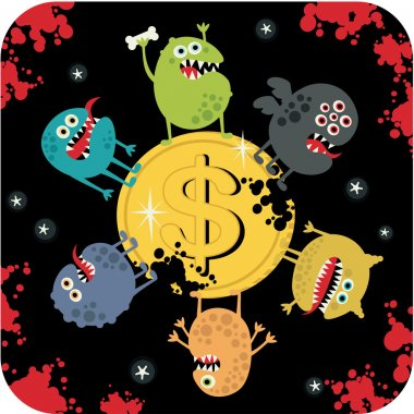 Cute monsters on the coin of dollar.