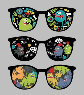 Retro sunglasses with monsters and flora reflection in it.