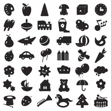 A set of black silhouettes of pictures for children - toys and different symbols stock vector