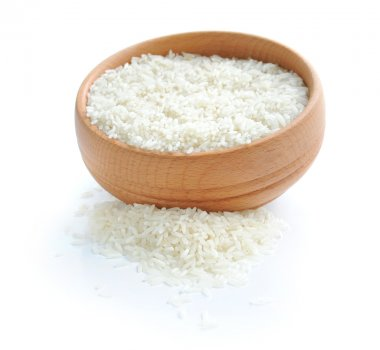White rice on wooden bowl
