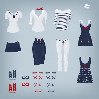Female navy set of clothes