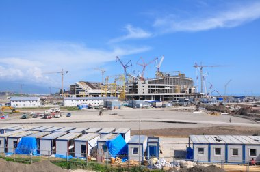 Construction of the main stadium Fisht in Sochi, Russia