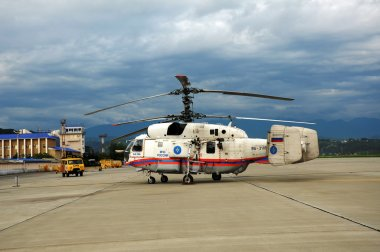 Fire and rescue helicopter Ka-32A Emergency Situations Ministry on the platform of the International Sochi airport