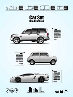 Car set, vector elements, info graphics