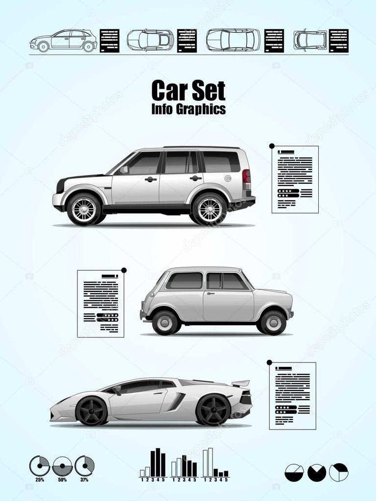 Car set, vector elements, info graphics