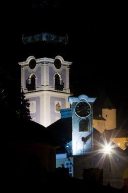 Town hall and Old Castle at night, Banska Stiavnica, Slovakia