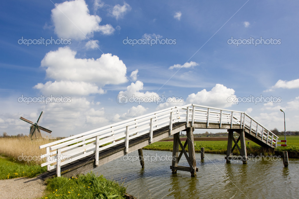 Bridge and windmill, Netherlands