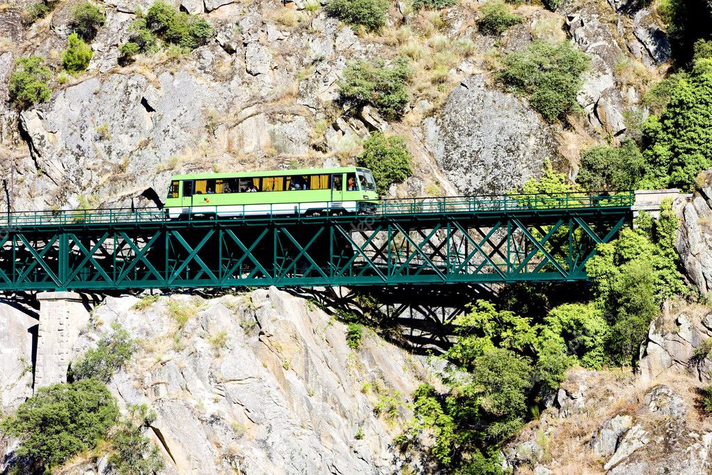 Engine coach on railway viaduct near Tua, Douro Valley, Portugal