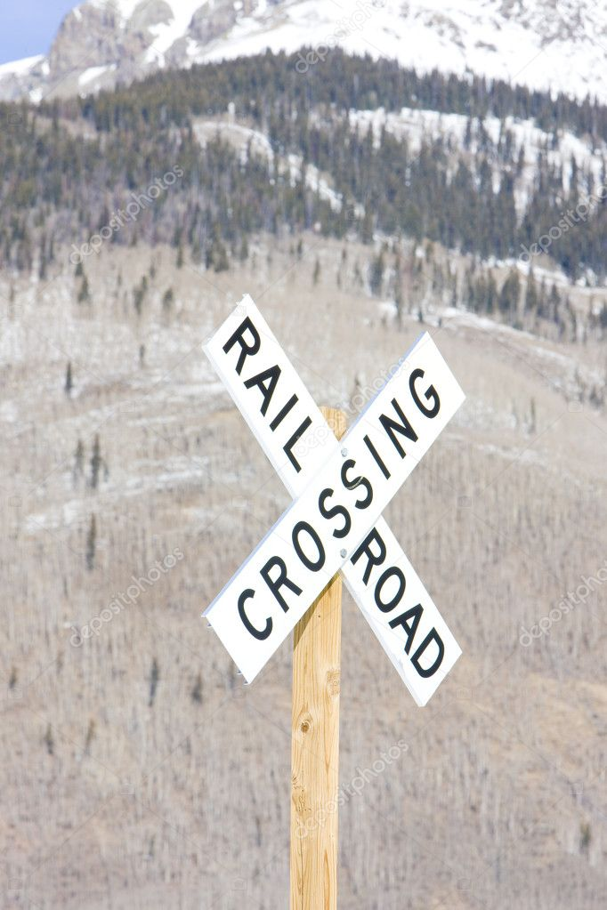 Railroad crossing, Silverton, Colorado, USA