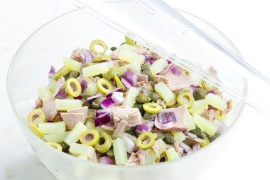 Mediterranean potato salad with tuna fish