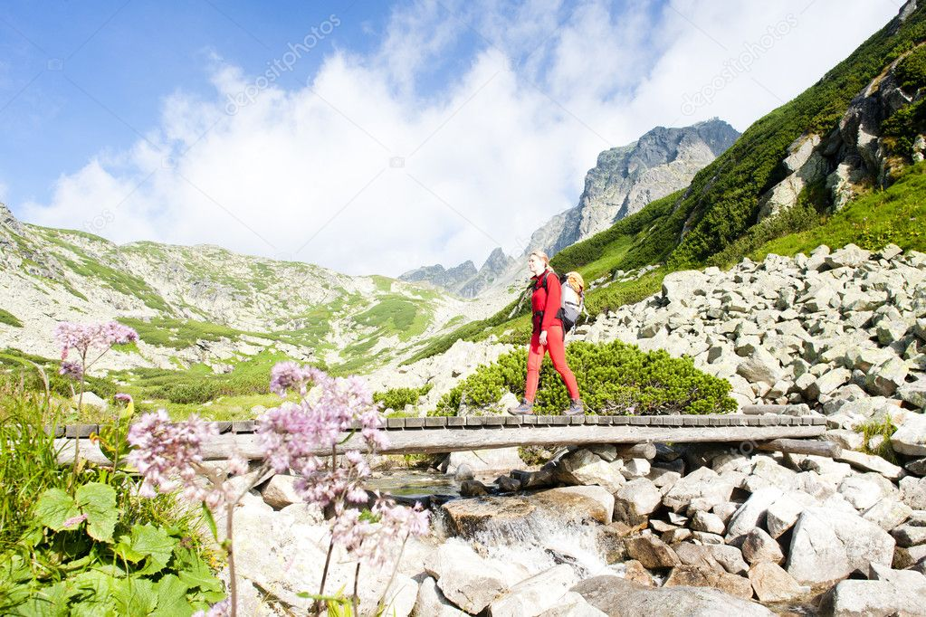 Woman backpacker in Great Cold Valley, Vysoke Tatry (High Tatras
