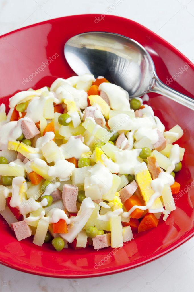 Tradycyjny Czeski Boze Narodzenie Salatka Ziemniaczana Zdjecie