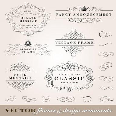 Vector Frame and Design Ornament Set.