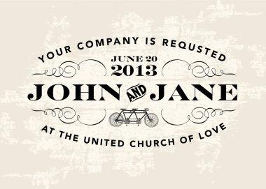 Vector Vintage Wedding Invitation Template