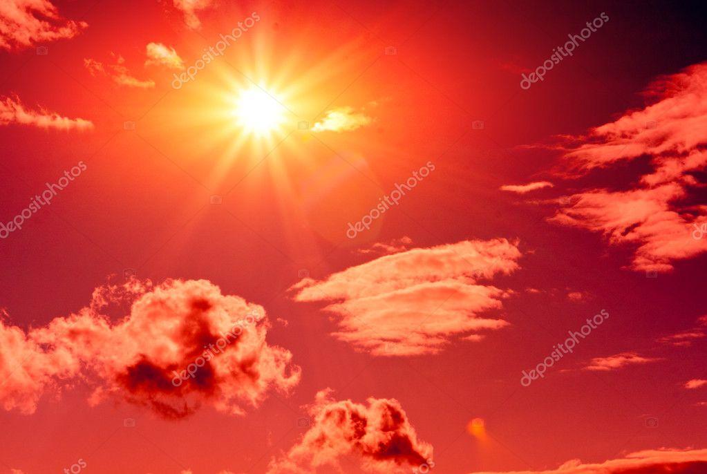 Sun in red sky
