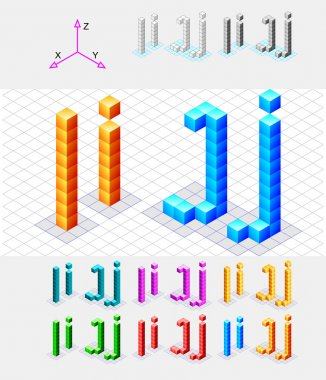 Isometric font from the cubes.Letters I and J. Vector