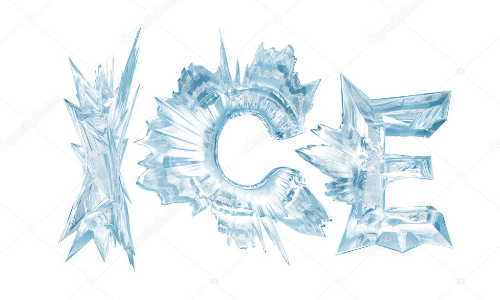 Ice. Ice crystal letters