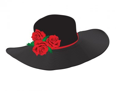 Lady's black hat with red roses isolated on white background