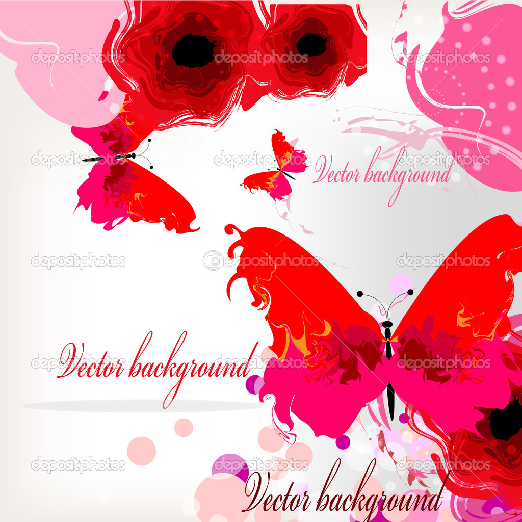Bright background with red poppies and butterflies