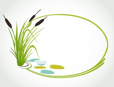 Background with lily and cane. Vector illustration stock vector