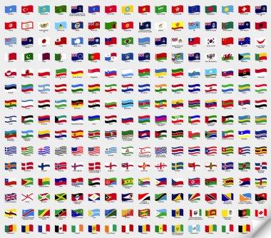 Set wavy flags. Vector art illustration stock vector