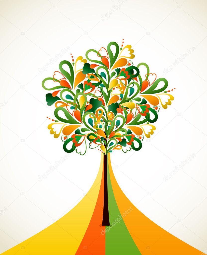 Renkli şeritler üzerinde Soyut Ağaç Boyama Vektör Stok Vektör
