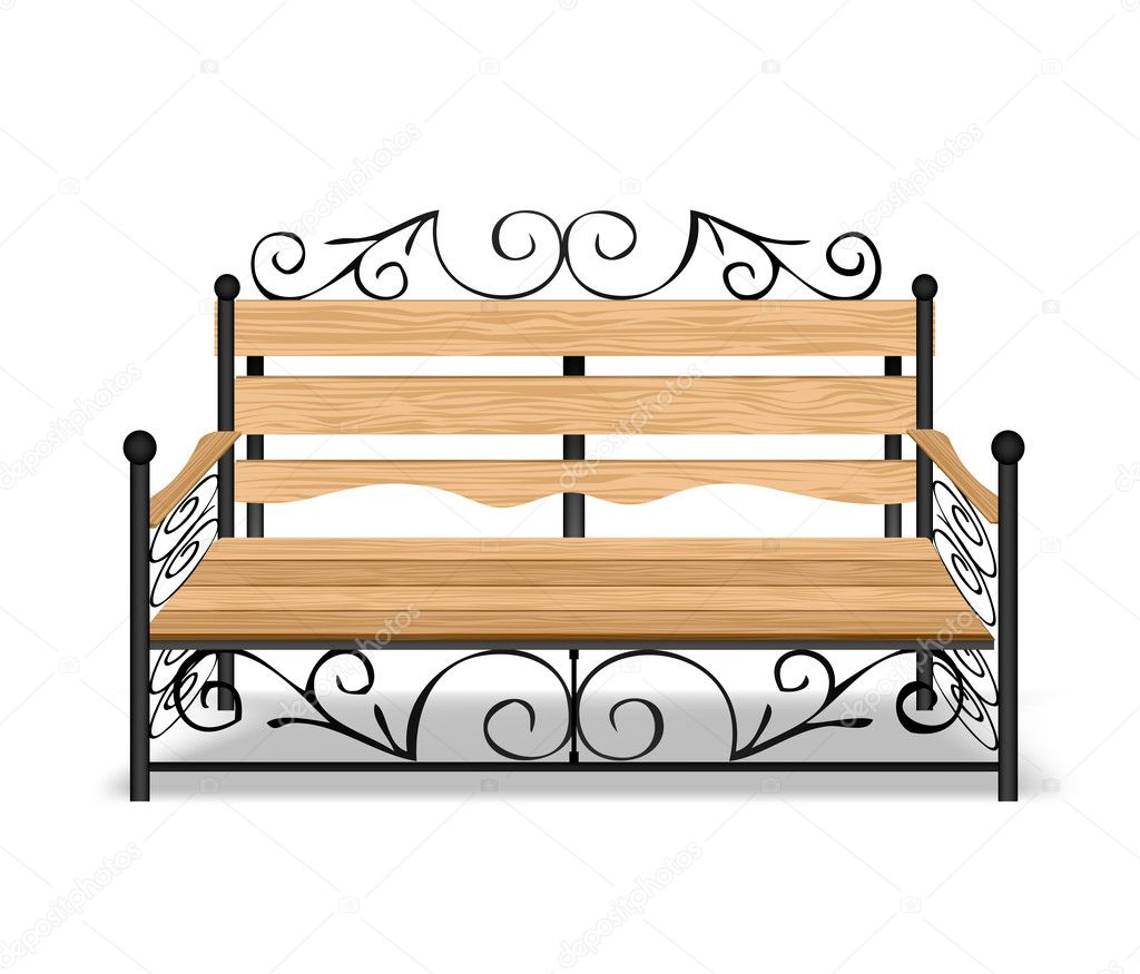 Classical park bench. Vector illustration