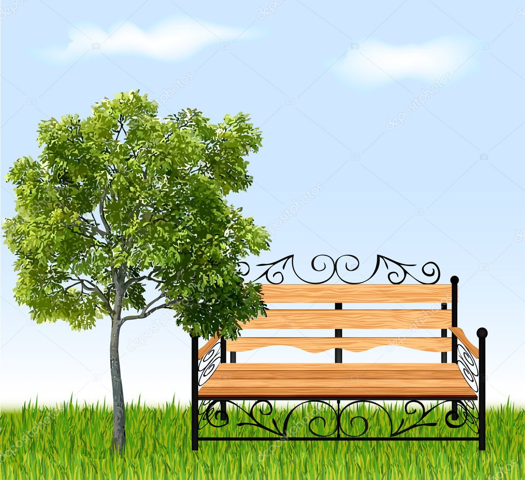 Bench with tree and grass. Vector illustration