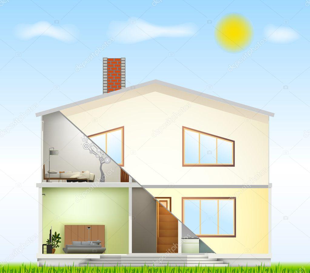 Cut in house interiors and part facade. Vector — Stock Vector ...