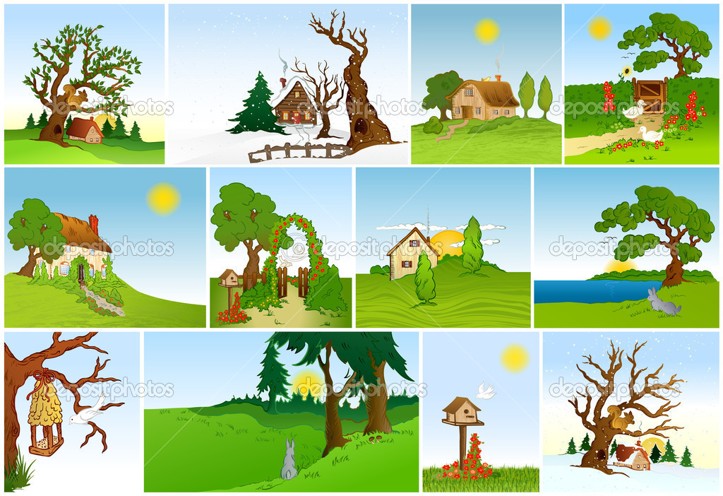 Set of natural backgrounds. Vector