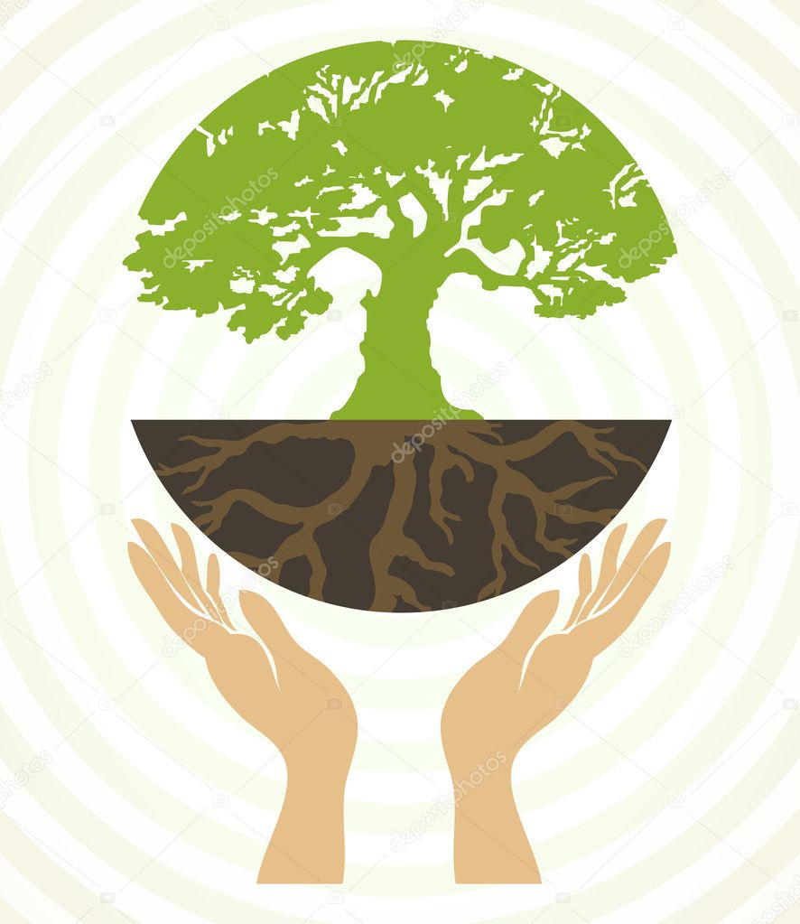 Tree icons with hands. Vector