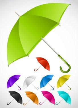 Colorful umbrellas set. Vector