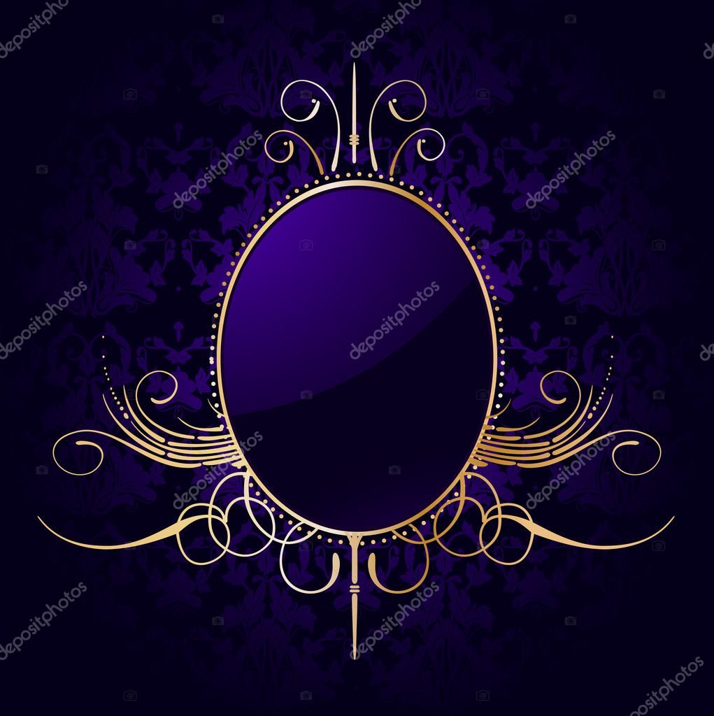 Royal purple background with golden frame. Vector