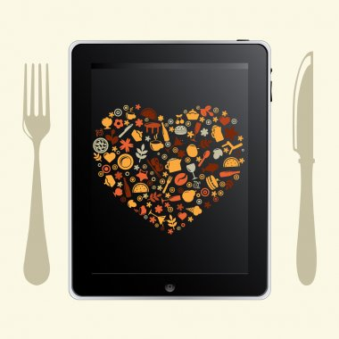 Tablet Computer With Food Icons