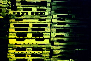 Pile of pallets at night