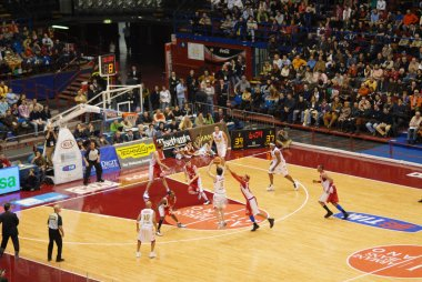 Italian basketball game, Milan vs Varese, 02-18-2007 stock vector