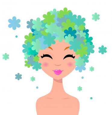 Beautiful woman with floral hairstyle