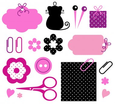 Vector handmade objects set. clip art vector