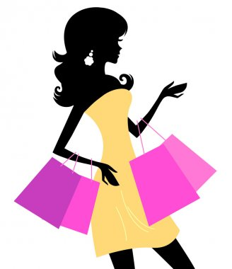 Retro woman silhouette with shopping bags. Vector stock vector