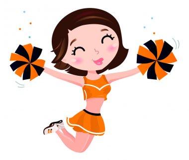 Happy cheerleader girl isolated on white